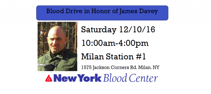 Blood Drive in Honor of James Davey – December 10